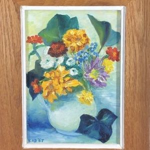 Vintage Oil Painting Flowers Circa 1967